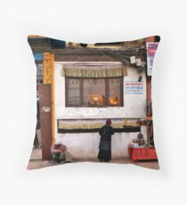 Bustling Boudha Throw Pillow