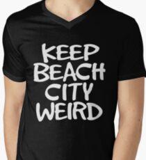 Camiseta para hombre de cuello en v Keep Beach City Weird