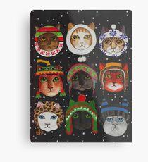 Cats in Winter Hats Metal Print