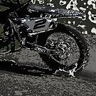 Bring it On - Dirt-bike Art in grunge greys by Skye Ryan-Evans