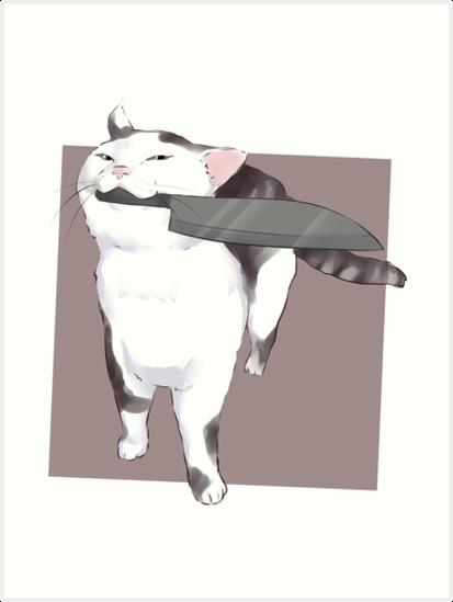 """""""Smug Knife cat - no fucks catto meme """" Art Prints by ..."""