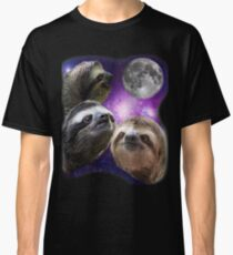 Three Sloths Howling At The Moon Funny Parody T-Shirt Classic T-Shirt