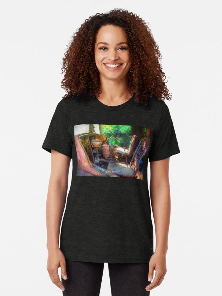 Alternate view of Rusty Truck Cabin Tri-blend T-Shirt