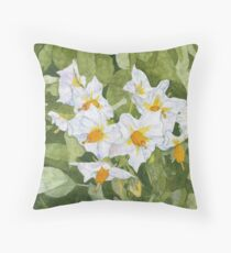 White Garden Blossoms Watercolor on Masa Paper Throw Pillow