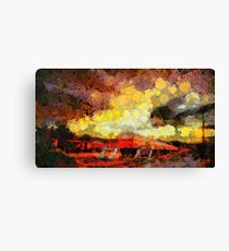 Train station with troubled skies Canvas Print