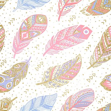 gold glitter feathers by PenguinHouse
