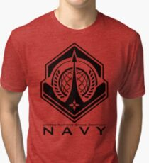 Halo   UNSC Navy Insignia With Words Tri-blend T-Shirt