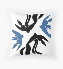 Girl with flowing hair jumping for joy Floor Pillow