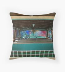 Old Ford Woody interior Throw Pillow
