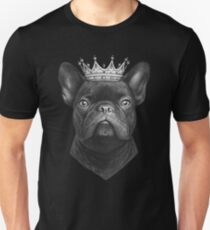 King French bulldog on black Unisex T-Shirt