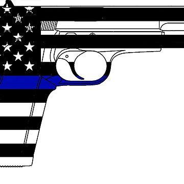 Thin Blue Line/Blue Lives Matter -USA Handgun by cstronner