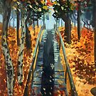 Autumn forest walk gouache traditional painting by Wieskunde
