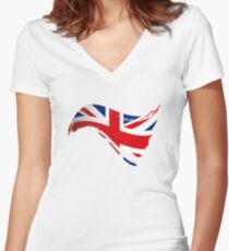 The Flag of The United Kingdom I Women's Fitted V-Neck T-Shirt