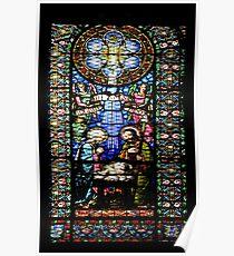 Santa Maria de Montserrat Abbey, Catalonia, Spain Stained Glass window  Poster