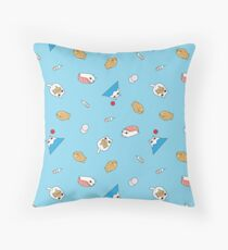Mount Fuji Cat, Teriyaki Cat and Sushi Cat Pattern in Blue Background  Throw Pillow