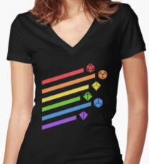 Rainbow Dice Set Tabletop RPG Gaming Women's Fitted V-Neck T-Shirt