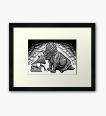 Triceratops and phonograph Framed Print