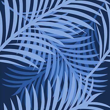 Blue Palm Leaf Pattern by pda1986