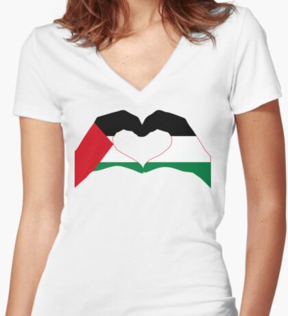 We Heart Palestine Patriot Flag Series  Fitted V-Neck T-Shirt