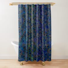 Blue peacock feathers pattern Shower Curtain