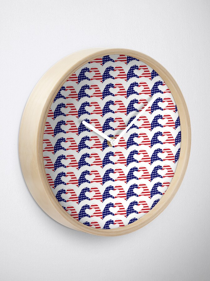 Alternate view of We Heart the United States of America Patriot Series Clock