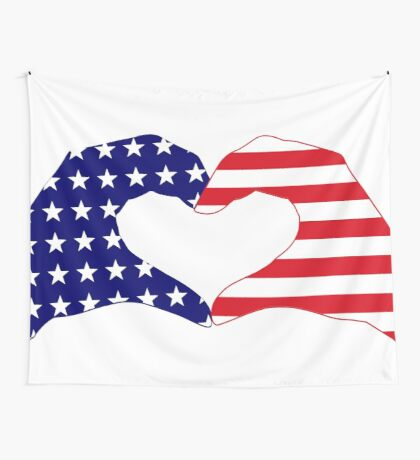 We Heart the United States of America Patriot Series Wall Tapestry