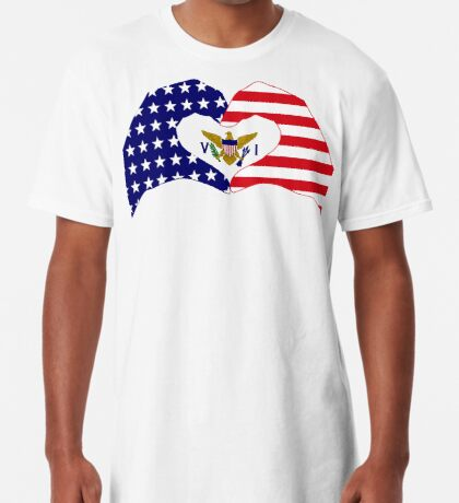 We Heart U.S. Virgin Islands Patriot Series Long T-Shirt