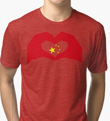 We Heart China Patriot Flag Series Tri-blend T-Shirt