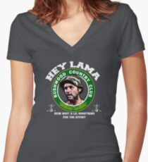 Camiseta entallada de cuello en V Hola Lama, qué tal un lil algo para el esfuerzo