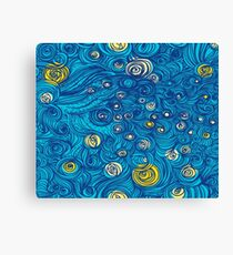 Blue Yellow Rose See Wave Cool Art Design Canvas Print