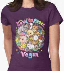 Love, Peace, Vegan Women's Fitted T-Shirt