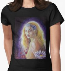 Woman with fowers Women's Fitted T-Shirt
