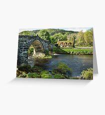 Tu Hwnt i'r Bont and Pont Fawr bridge Greeting Card
