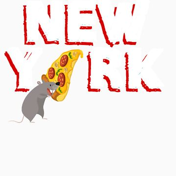New York City Pizza Rat Design, Red by hackershirtsio