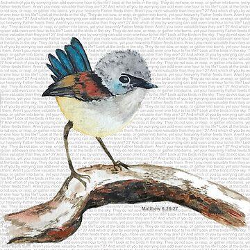 Don't worry, bird watercolor / Matthew 6:26-27 by jstunkard