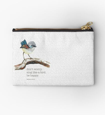 Don't worry, bird watercolor / Matthew 6:26-27 Studio Pouch