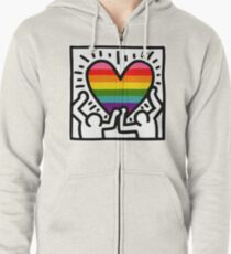 Keith Haring w/ original pride flag Zipped Hoodie