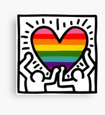 Keith Haring w/ original pride flag Canvas Print