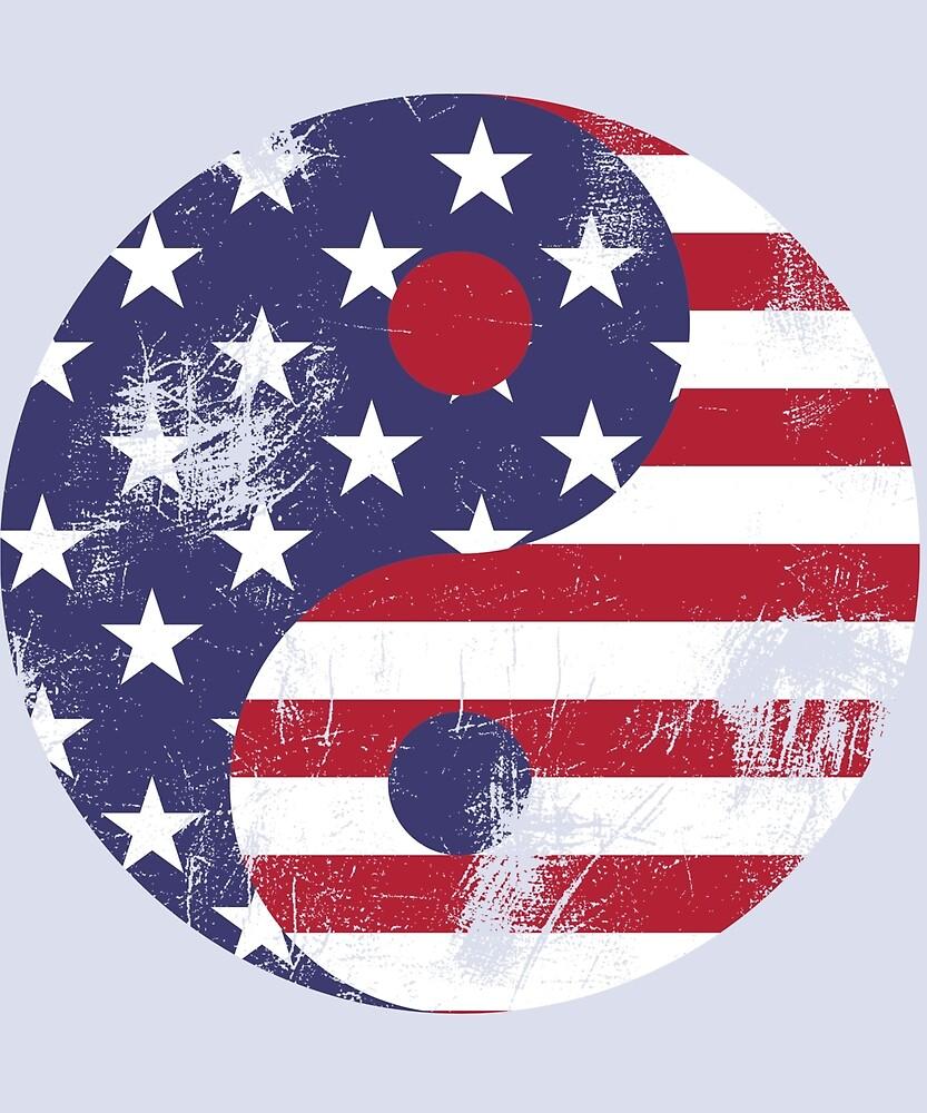 Yin Yang Independence American Flag by tikasdes
