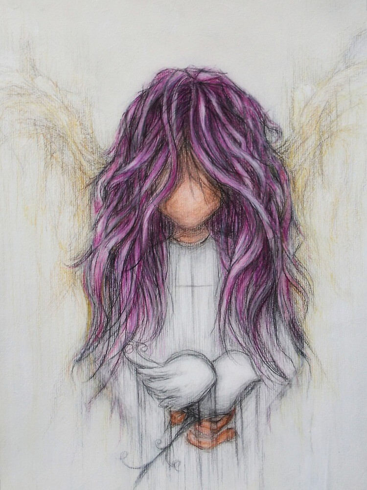 Purple Angel + Dove - Sending Peace by PatinaBlue