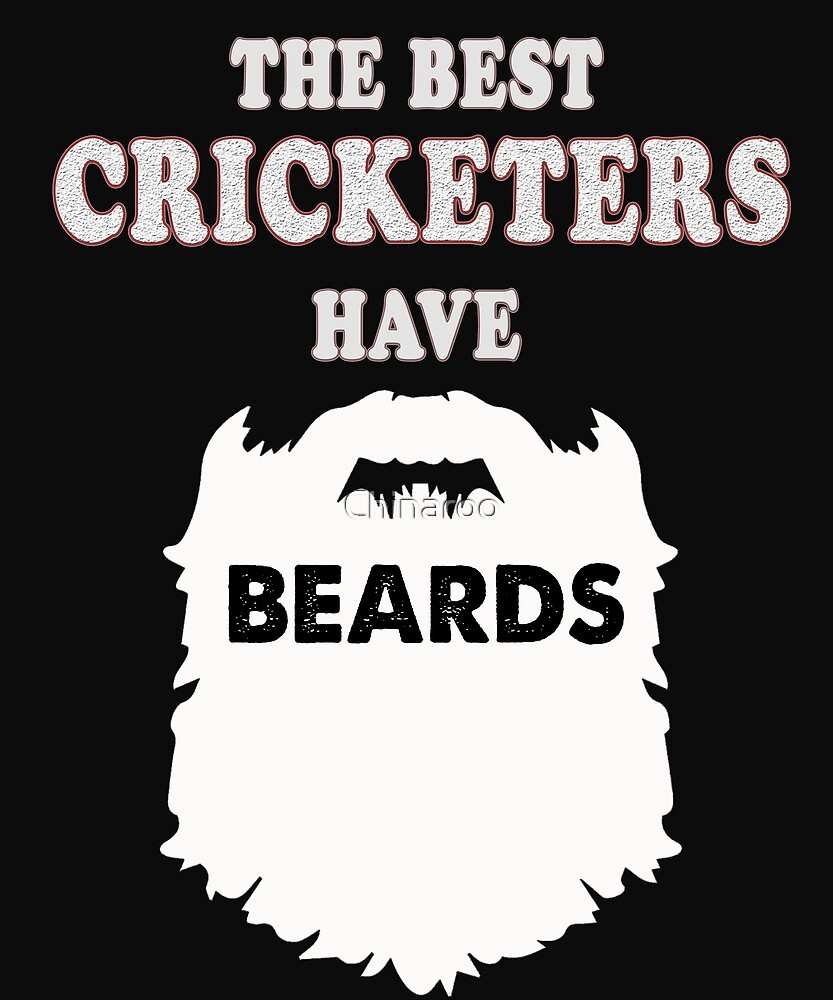 cricketer beards gift t-shirt, cricket sport by Chinaroo