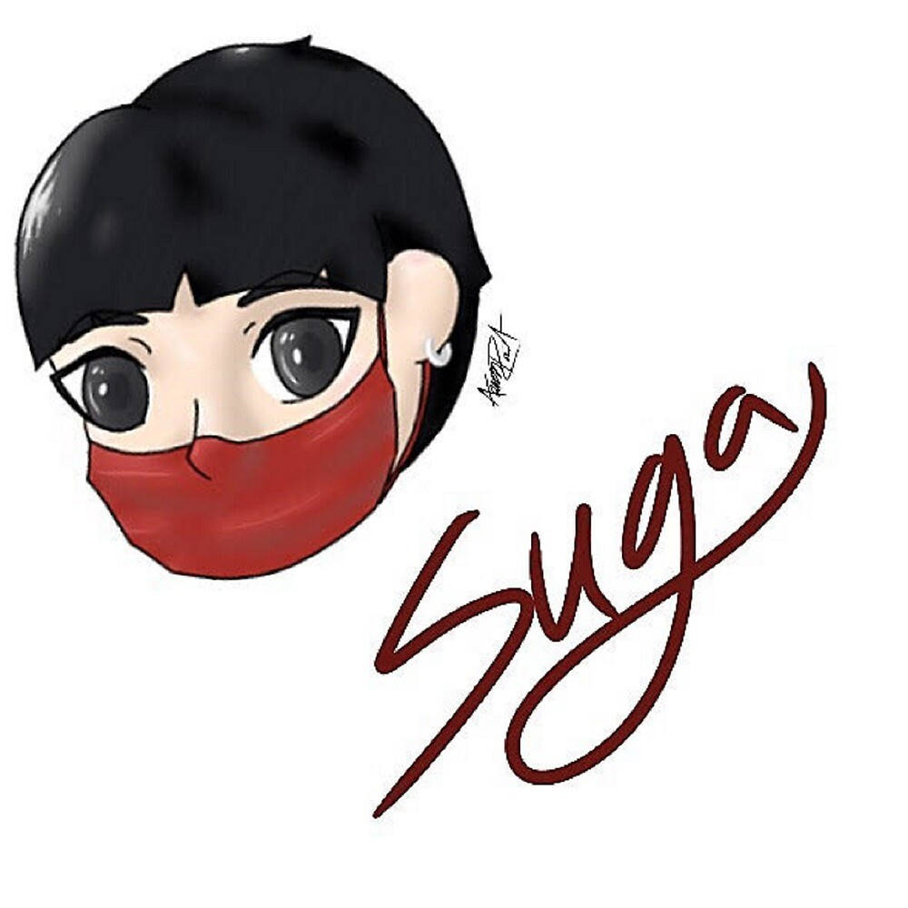 Suga Sticker/Print/Tablet Case with Name by cosplayaoart