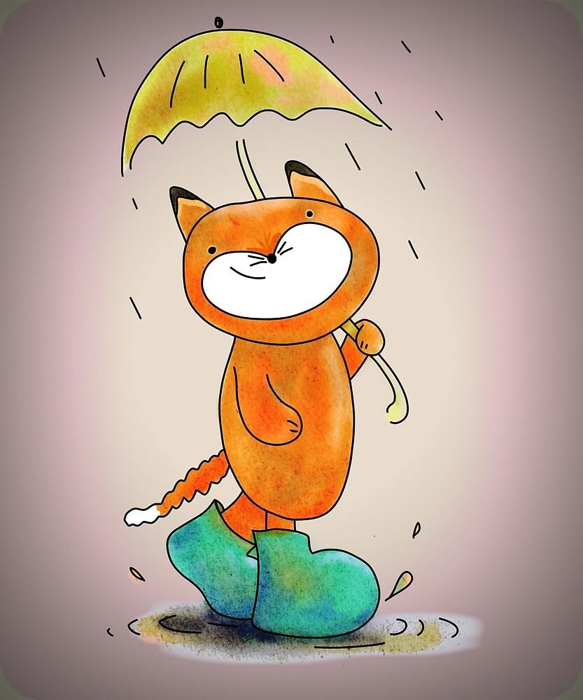 Funny Smiley Cat in the Rain by tikasdes