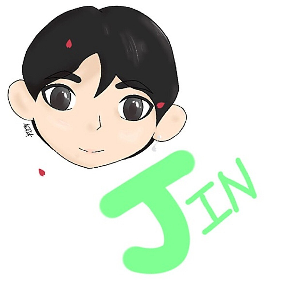 Jin Sticker/Print/Tablet Case with Name by cosplayaoart