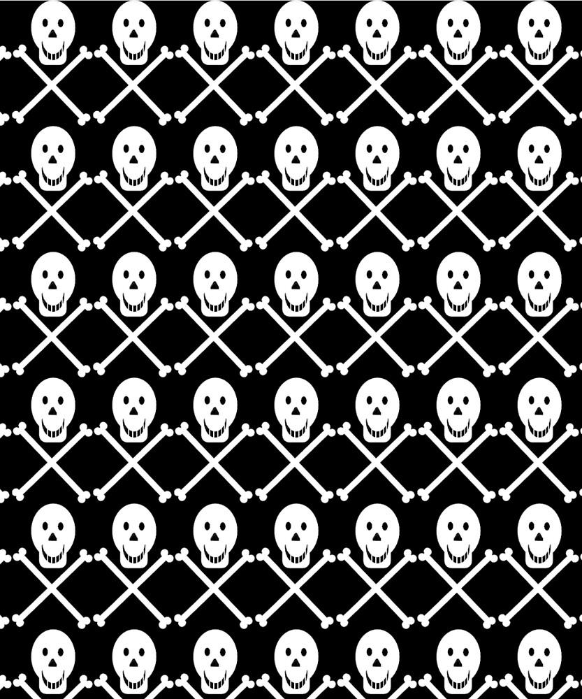Black and White Skull Crossbones Pattern by tikasdes