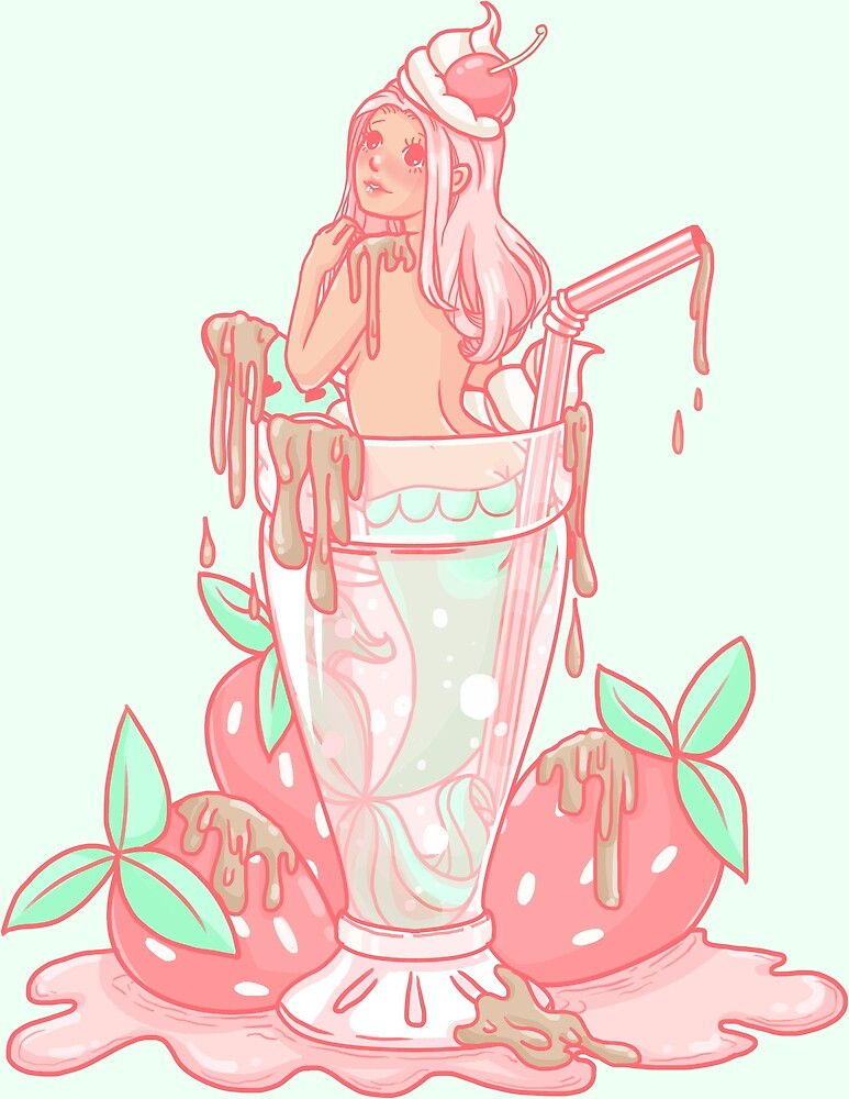 Strawberry Mermaid Milkshake by willowdream