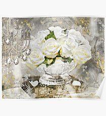 Shabby Cottage Roses Gold Glitter Poster