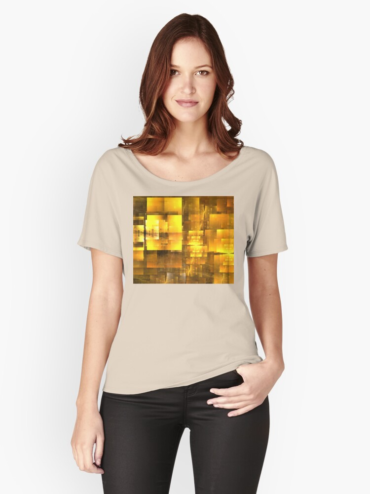 Golden Orange Cubist Women's Relaxed Fit T-Shirt Front