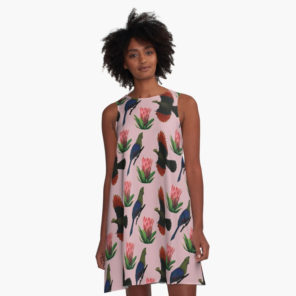 Knysa Turaco Aesthetic (Pink) A-Line Dress Front