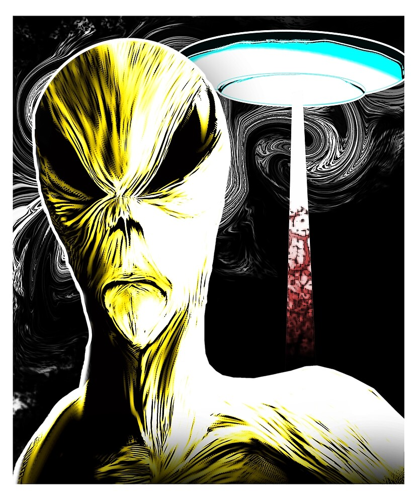 Extraterrestrial Alien and UFO Graphic Novel Style by NationalCryptid
